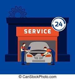 Auto mechanic service center flat banner