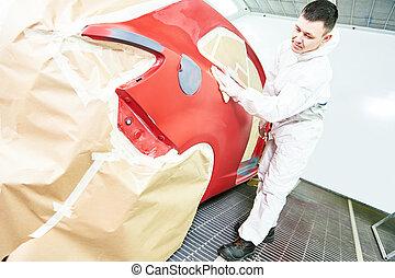 auto mechanic wiping car - auto mechanic worker wiping car...