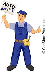 auto mechanic with poster