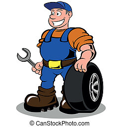 auto mechanic with wheel vector illustration isolated on...