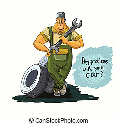 Auto mechanic with wrench and tires