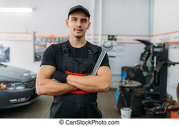 Auto mechanic with wrench, tire service industry