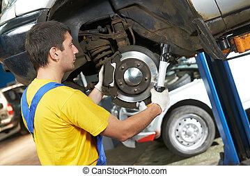 auto mechaniker, an, auto, aufhängung, reparatur, arbeit