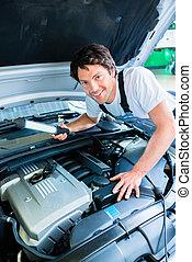 auto mechaniker, arbeitende , auto, service, werkstatt
