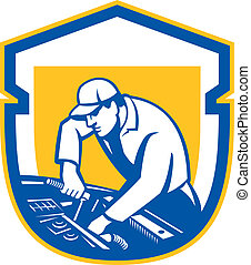 auto mechaniker, auto, auto- reparatur, schutzschirm, retro