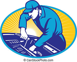 auto mechaniker, auto- reparatur, retro