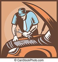 auto, mechaniker, auto- reparatur