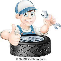 auto mechaniker, geben, daumen hoch