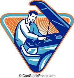auto, mechaniker, reparatur, auto, retro