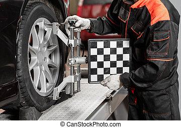 auto mechaniker, sätze, der, auto, für, diagnose, und, configuration., rad, ausrichtung, ausrüstung, auf, a, autorad, in, a, reparatur, station