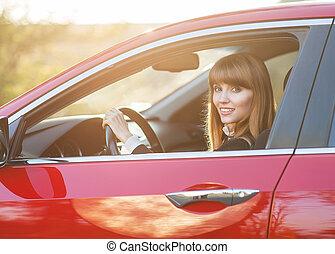 auto, meisje, mooi