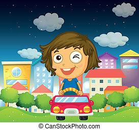 auto, meisje, speelbal, haar, paardrijden
