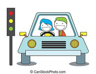 auto, meisje, trein, besturen