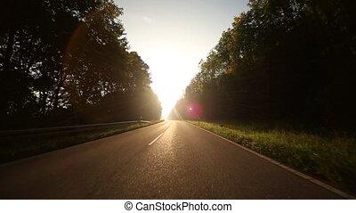 auto, mit, onboard, -, fotoapperat, auf, a, ländlicher weg,...