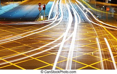 auto, mit, verwischen, licht, durch, stadt, nacht