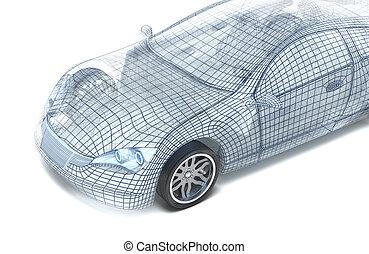 auto, model, draad, ontwerp