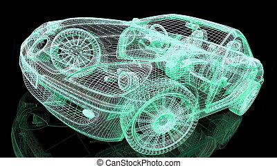 auto, model, op, zwarte achtergrond