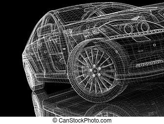 auto, modell, 3d