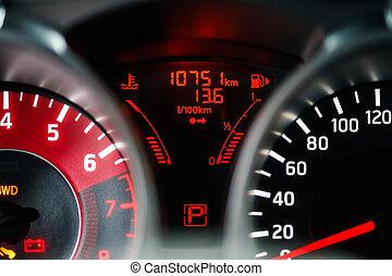 auto, moderne, sportende, dashboard