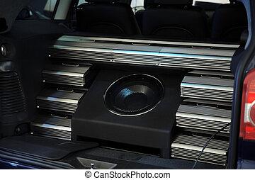 auto, moderne, systeem, muziek luisteren, akoestisch