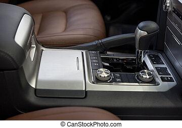 auto, moderne, transmission., interieur, nieuw, automatisch, transportation.