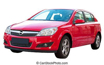 auto, moderne, vrijstaand, rood