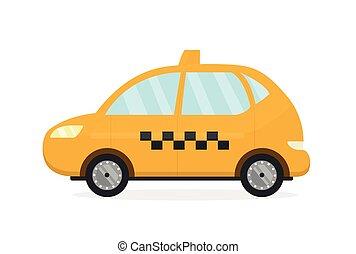 auto., moderno, taxi, vettore, tassì giallo, appartamento