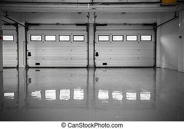 auto-motor, pista de carreras, garaje