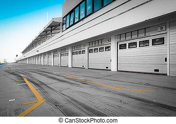 auto-motor, pista de carreras, garaje, estación