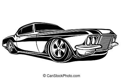 auto, muskel