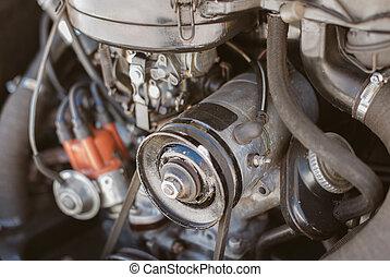 auto, nahaufnahme, engine., retro, ansicht