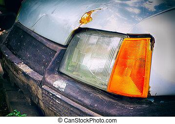 auto., nahaufnahme, scheinwerfer, altes , rostiges