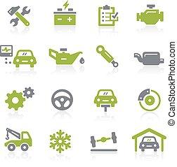 auto, natura, dienst, icons.