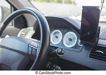 auto, navigationsoffizier, armaturenbrett