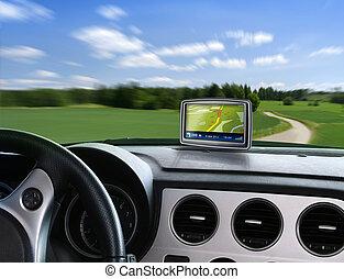 auto, nawigator, gps