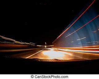 auto, night., schnell, fahren