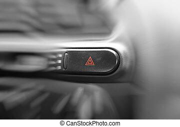 auto, noodgeval, lichten, knoop, op, cockpit., zeer, ondiep, dof
