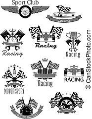 auto, of, sportende, motor wedrennen, club, vector, iconen, set