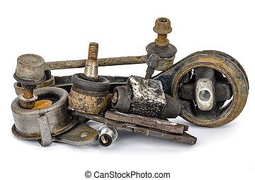 auto, onderdelen, afgesloofd