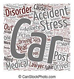 auto-ongeluk, artikel, auto, ongevallen, post, traumatisch, stress, stoornis, tekst, achtergrond, wordcloud, concept