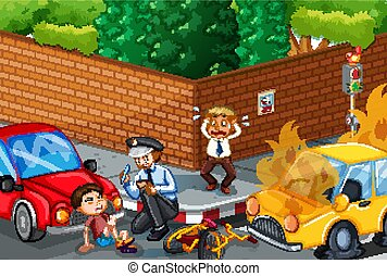 auto-ongeluk, scène, straat