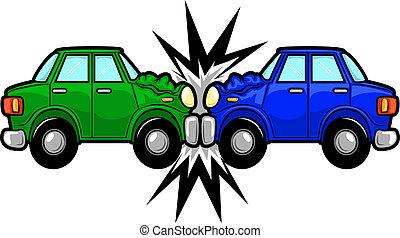 auto-ongeluk, spotprent