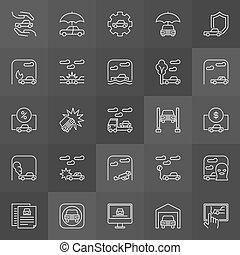 auto, ongevallen, iconen