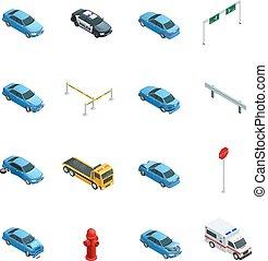 auto, ongevallen, isometric, iconen, set