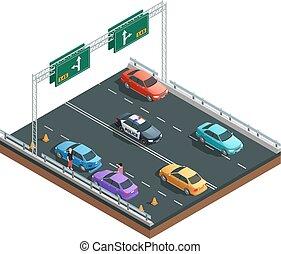 auto, ongevallen, isometric, samenstelling