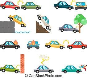 auto, ongevallen, plat, iconen
