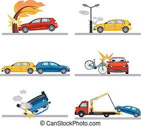 auto, ongevallen, set, op wit