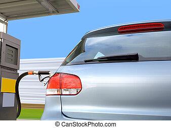 auto, op, benzinestation