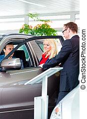 auto, paar, dealership, aankoop, nieuw