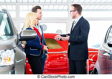 auto, paar, dealership, auto, nieuw, aankoop